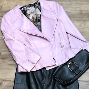 Soft Three Quarter Sleeved Pink Leather Jacket